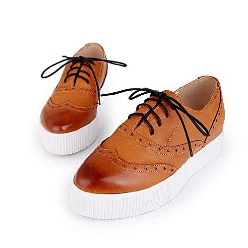 AgooLar Damen Niedriger Absatz Weiches Material Rein Schnüren Rund Zehe Pumps Schuhe Gelb