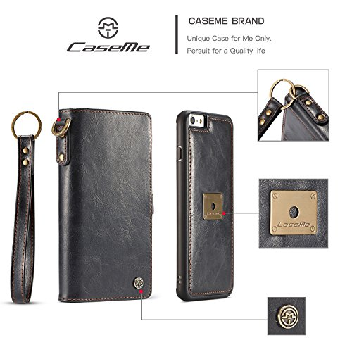 SDDMALL CaseMe Premium Leder Flip Folio Kickstand Wallet Card Case mit Handschlaufe für iPhone 6s ( Color : Brown ) Black