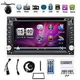 Radio per auto, universale, con navigatore GPS, con doppia telecamera DIN, schermo da 6,2 pollici, con lettore DVD, stereo, touch screen, Bluetooth, presa USB, SD, MP3