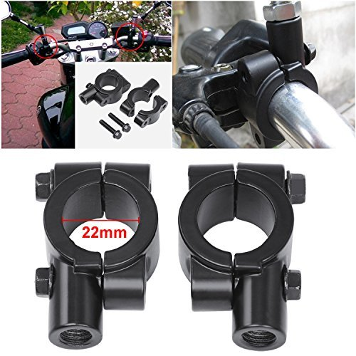 "2x 7/8\""(22mm) Universal Motorrad Lenkerhalterung Lenker halter Aluminum Seite Spiegel Adapter Halterung Klemme"
