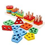 Afunti Forme Geometriche Riconoscimento Puzzle Ordina Corrispondenza di Legno Blocchi Costruzione Mattoni Bambini Pila Sort Chunky