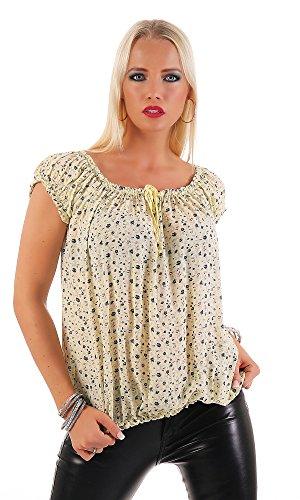 ZARMEXX Damen Kurzarmbluse Carmenbluse Oberteil Sommerbluse Shirt Tunika geblümt One Size Gelb