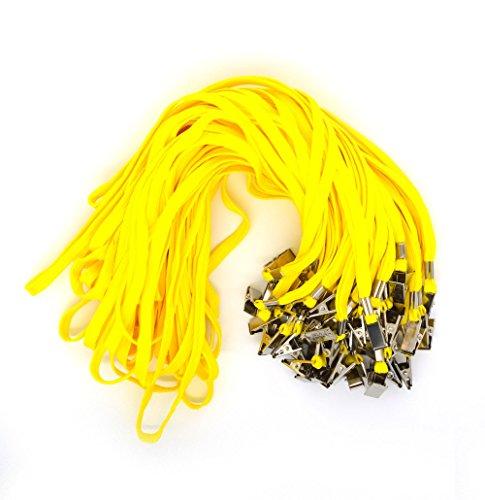 Braid Strap (Bird Fiy 50PCS Baumwolle Lanyard Bulldog Clip flach Braid Umhängeband für ID Karten/Buttons gelb)