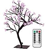 Kirschblütenbaum Schreibtischlampe mit Fernbedienung, 0,45 m, 48 LEDs, schwarze Äste, USB-betrieben, 8 Beleuchtungsmodi, dimmbar, Timer Art Deco rose