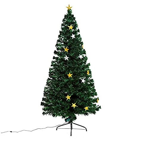 Homcom Weihnachtsbaum künstlicher Christbaum Tannenbaum Kunstbaum mit 28-LED-Lampen Glasfaser 180 cm