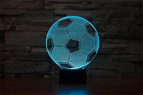 ge 3D optische Täuschung USB Powered 7 Farben Fußball setzen Botton Stimmungs Lampen Beleuchtung Gadget Schreibtischlampe ()