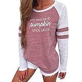 OVERDOSE Mode Damen Frauen Rundhals Lange Hülsen Spleiß Blusen Oberseiten Kleidung T-Shirt Tops Pullover (M, S-Pink)