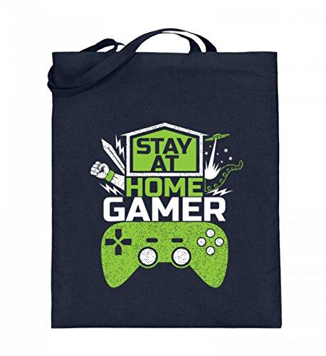 Hochwertiger Jutebeutel (mit langen Henkeln) - Stay At Home Gamer - Gaming Videospiele Zocker zocken Online Multiplayer Videogames Deep Blue