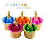 #7: TOTAM 6 Ice Cream Cone Shape Bowl with 6 Spoons - Assorted Colors - BPA Free Plastic Colors will be send as per Stock Availability.
