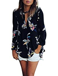 Petalum T-Shirt Tops Femmes Chemisier Chemise Imprimé Fleur Floral V-Cou  Mousseline de Soie Col Top Manche Longue Blouse Casual Lâche… 81d6e1ccfe69