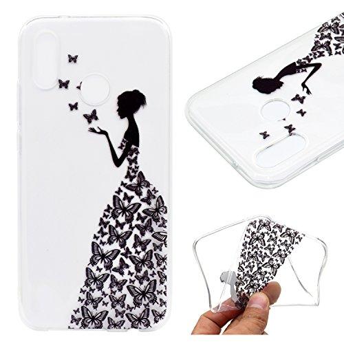 20 Lite / Huawei Nova 3E ,JIENI Transparent TPU Mädchen Schmetterlings-Kleidung Weich Silikon Handyhülle Schutzhülle Stoßkasten Case Bumper Slimcase Etui Tasche für Huawei P20 Lite / Huawei Nova 3E (Nova Mädchen Kleidung)