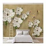 YUANLINGWEI Benutzerdefinierte Wandbild Tapete 3D Geprägte Floral Schmetterling Tv Hintergrund Wände Dekoration Wohnzimmer Schlafzimmer Tapete,230cm (H) X 310cm (W)