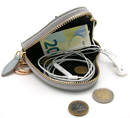 MENKAI Borsa della borsa cuore disegno ciglia forma Zip con portachiavi. Blue