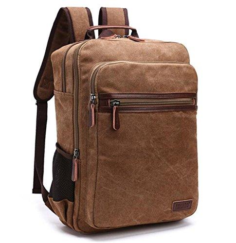 &ZHOU Borsa di tela, Moda tela borsa uomini e donne borsa a tracolla zaino computer borsa zainetto moda casual , coffee color coffee color
