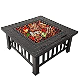 garden mile® Large Square Fire Pit with BBQ Grill - Black Heat Resistant Powder Coated Brazier - Patio Stove Outdoor Fireplace Barbeque with FREE RAIN COVER