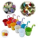 GIOVARA Set di 10 Vasi da Fiori in Metallo Vaso Sospeso Fioriera Senza Foro di Drenaggio, Gancio Rimovibile, Balcone Recinzione Garden Home Decor