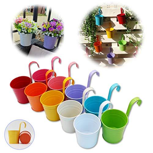 GIOVARA 10er-Set Blumentöpfe aus Metall Vase Hängender Pflanzkorb ohne Ablaufloch, Abnehmbarer Haken, Balkonzaun, Garten-Wohnkultur