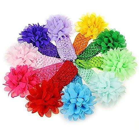 WINWINTOM 10 Pieces Babys Headbands Girls Headband Chiffon Flower Hair Bow