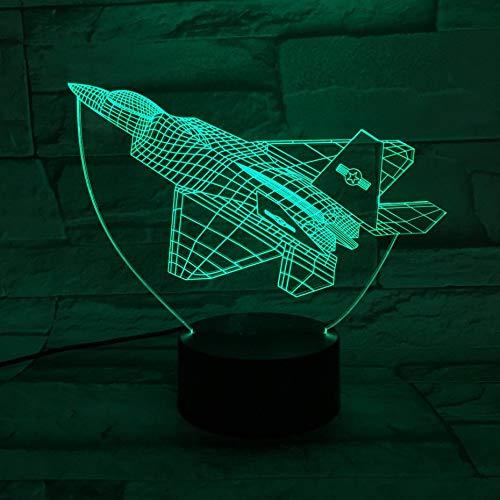 GBBCD Nachtlicht Usb 3D Led Nachtlicht F-22 Raptor Warcraft Modell Illusion Fighter Dekorative Lichter Kampfflugzeug Flugzeug Tischlampe Nachttischlampe (Spielzeug-flugzeug F22)