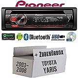 Toyota Yaris P1 2003-2006 - Autoradio Radio Pioneer DEH-S310BT - Bluetooth | Spotify | CD | MP3 | USB | Android | 4x50Watt Einbauzubehör - Einbauset