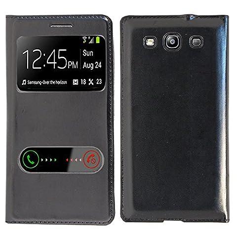 VCOMP® Etui Housse Coque flip cover View compatible pour Samsung Galaxy S3 i9300/ i9305 Neo/ LTE 4G - NOIR