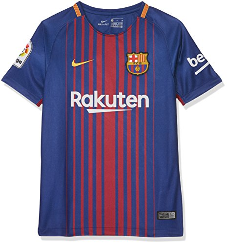 Brand new, official Barcelona Kids Home shirt for the 2017 2018 La Liga season. This authentic football kit is available in junior sizes small boys, medium boys, large boys, XL boys and is manufactured by Nike.Customise your FC Barcelona Football Kit...