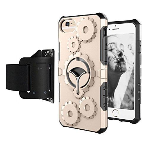 iPhone 7 Plus / 8 Plus Coque avec brassard de sport, Blossom01 multifonctionnel à coque de téléphone avec béquille pour iPhone 7 Plus 2016 / 8 Plus 2017, Silver Doré