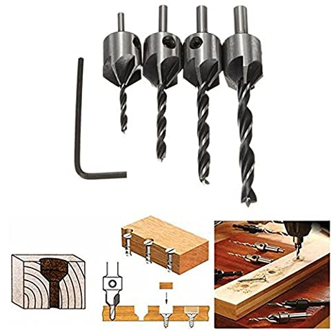 HSS 5 Flute Countersink Drill Bit Set Screw Woodworking Chamfer Tool 3-6mm