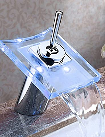 CU@EY Glass Color Waterfall Bathroom Sink Faucet Basin Temperature Mixer tap