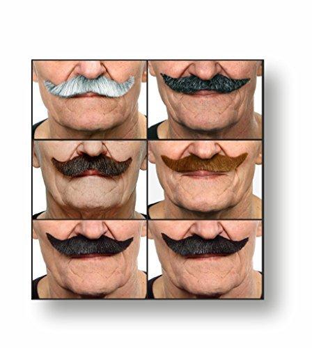 (Mustaches Selbstklebende Fälscher Schnurrbart Neuheit Falsch Gesichtsbehaarung Kostümzubehör Party Eingestellt Wertpaket für Erwachsene (6pcs.))