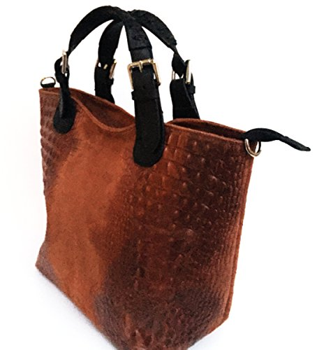 SUPERFLYBAGS Borsa Sacca Shopper In Vera Pelle Camoscio stampa coccodrillo moodello Teresa Croco Made In Italy marrone
