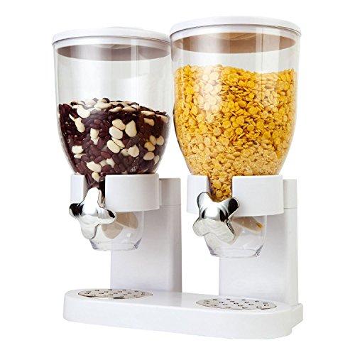 Dispensador de cereales secos con doble depósito de plástico, de Taylor & Brown®, color blanco/negro y transparente