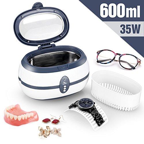 Uten Pulitore ad Ultrasuoni da 600ML con Cesto di Pulizia per Occhiali, Dentiere, Orologi e Altro. Frequenza ultrasuoni 40kH 35W [Classe Energetica A++]