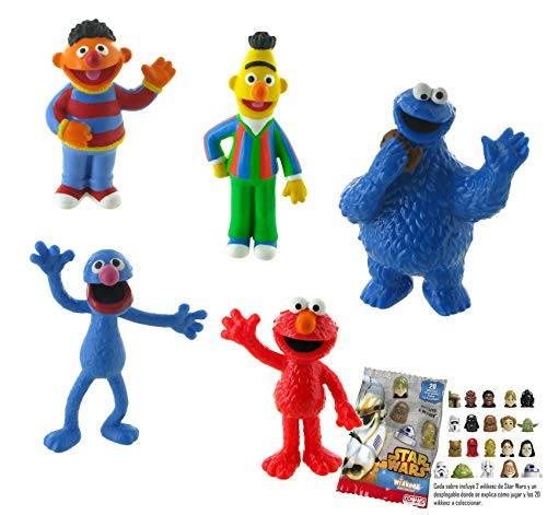 Lot 5 Figures Comansi Sesame Street. Epi - Blas - Coco - Monster of Las Galletas - Elmo + Gift
