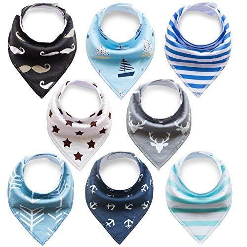 FUTURE FOUNDER 8er Baby Dreieckstuch Lätzchen Spucktuch Halstücher mit Verstellbaren Druckknöpfen Multifunctional, Super Absorbent & Soft Baumwoll, Jungen