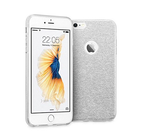 IPhone 7 Cover Case + Screen Protectors , iLiebe®iPhone 7 Bumper [Weiche TPU Abdeckung + Glitzer Papier + PC innere Schicht] Case Cover for iPhone 7 + [2 pieces] Screen Protector 0.33mm 9H Hardness, 2 Silver