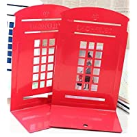 Rosetreee Metal Bookends Telephone Booth Bookends Student Book Ends File Storage Rack Stationery Holder Book Shelf for School Home Office Decor red