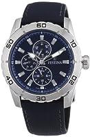 Festina F16607/2 - Reloj analógico de cuarzo para hombre con correa de piel, color azul de Festina