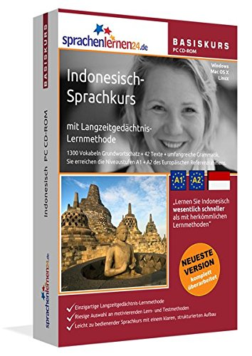 Indonesisch-Basiskurs mit Langzeitgedächtnis-Lernmethode von Sprachenlernen24: Lernstufen A1 + A2. Indonesisch lernen für Anfänger. Sprachkurs PC CD-ROM für Windows 10,8,7,Vista,XP / Linux / Mac OS X