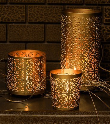 SET OF 3 ETCHED CANDLE HOLDERS WITH FREE 12 SCENTED TEA-LIGHTS| Beautiful...