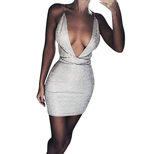 iYmitz Womens Party Swing Prinzessin Deep V Plunge Partykleid Ladies Mini Dress (Silber,EU-30/CN-M
