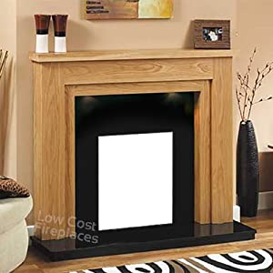 Electric Gas Oak Wood Fireplace Surround Black Granite Marble Back Panel & Hearth Downlights Suite Fire Large Lights