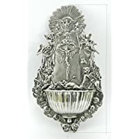 holy water font fountain lourdes stoup vatican container catholics made in Italy CAVAGNINI Pewter Silver