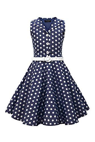 r 'Holly' Vintage Polka-Dots Kleid im 50er-J-Stil (Nachtblau, 7-8 J / 122-128) (50er-jahre-mädchen)