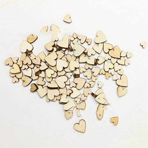 100Pcs Retro Wooden Craft Heart DIY Decoration for Wedding Party Home