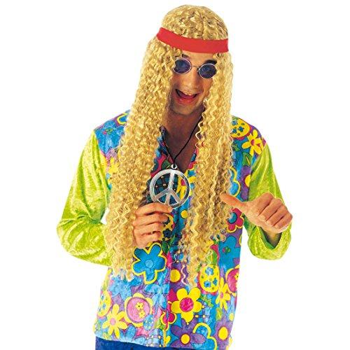 NET TOYS Hippie Medaillon Plastik Peacezeichen Woodstock Hippieschmuck Schmuck 70er Jahre Kostüm Accessoire
