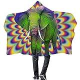 ISAAC ENGLAND Mandala Mit Kapuze Decke Rosa Elefant Fleece Decken Winter Warme Schlafsofa Gedruckt Flugzeug Picknick Erwachsene Tragbare Throw-150 * 200 cm