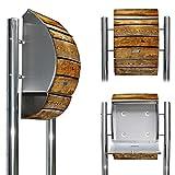 Edelstahl Standbriefkasten mit Fuß und Motiv: Holzbretter