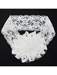 TOOGOO(R) Banda de Cabeza Diadema Lazo con Flores para Edad 0~5 Bebes Ninas --- Blanco