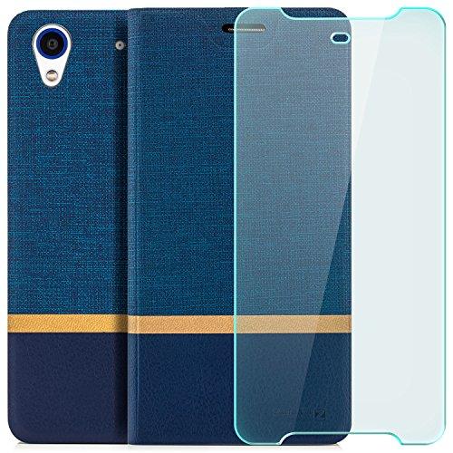 zanasta Designs Tasche + Panzerglas HTC Desire 628 Dual Sim Hülle Flip Case Schutzhülle Handytasche mit Kartenfach Blau (Dual-sim Handy Htc)
